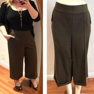 Ralph Lauren cropped pants wide leg olive slacks